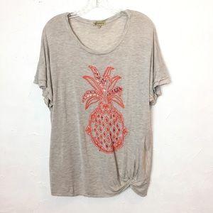 DEMOCRACY Gray Beaded Embroidered Pineapple Tee 1X